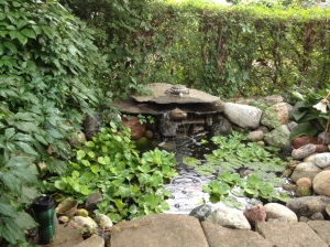 Homemade waterfall with koi pond